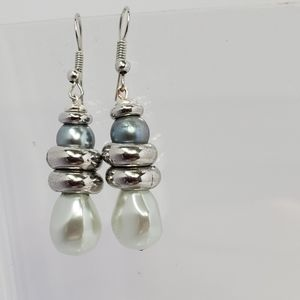 Modern Classic White and Gray Pearl Beaded Dangle